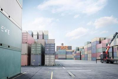 shipping containers in a open space port